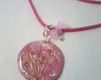 romantic Pearl rose pendant lime flower print