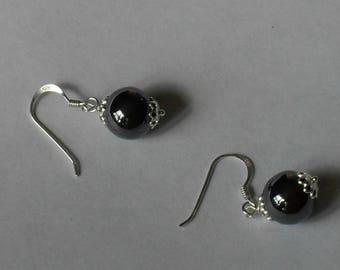 Hematite Earrings,Black Crystal Drop Earrings,Hematite Crystal Ball Earrings,Hematite Crystal Jewelry