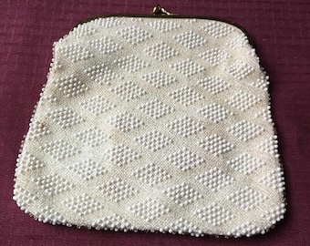 Vintage St Thomas Corde Bead 1960s Beaded Clutch Beige Purse Clear & Gold Mirror