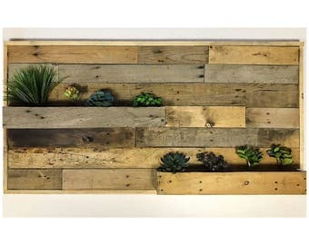 reclaimed wood succulent wall planter