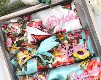 SALE! Bridesmaid Robes Set of 2, 3, 4, 5, 6, 7, 8, 9, 10, 11, 12, Bridesmaid Gift, Satin Floral Robes, Bridal Robes, Getting Ready Robes