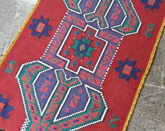 Oushak Small Rug,Turkish Vntage Small Rug,1'8''x3'3''feet,Home living, Area Rug,Office Decor,Turkish Carpet, Oushak Carprt,Rugs,Rug,
