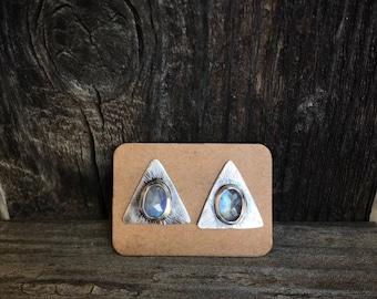 Moonstone traingle earrings