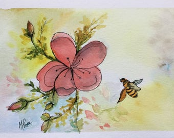 Flower and bee greeting card/Floral card/Flower and bee/Watercolor greeting card/ Watercolor Card/5 x 7 greeting card//Card and envelope