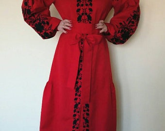 HOT PRICE! Red Long Ukrainian embroidered linen dress vyshyvanka with black embroidery - Vyshyvanka/ Ukrainian Embroidery/Folk/Arabian Thobe