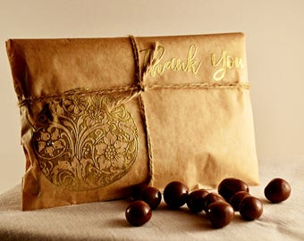 100 Rustic Wedding Favors. Elegant Handmade Wedding Favors. Gold Embossed Favors. Fall Wedding Ideas. Chocolate Covered Espresso Beans.
