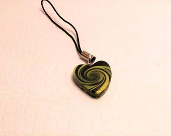 Polymer Clay, black/yellow swirl heart cell charm