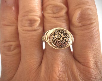 Handmade Argentium Sterling Silver Wire Wrapped Scroll Ring/ Size 6.75