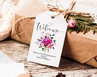 Hot Pink Floral Wedding Welcome Tag Favor Tag Wedding Welcome Bag Tag Editable PDF Template Floral Favor Tag Pink Wedding Welcome Tag #T01