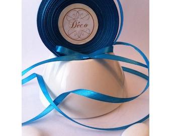 Lot de 2 Rouleaux de Ruban Satin Simple Face Pas Cher Turquoise 25 m X 6 mm