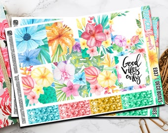 037 | Tropical Bouquets // Erin Condren Vertical  and Happy Planner Classic Weekly Planner stickers