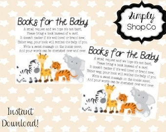 Jungle theme baby shower books for the baby, tickets, printable, you print, instant download, book for baby template, baby, gender neutral.