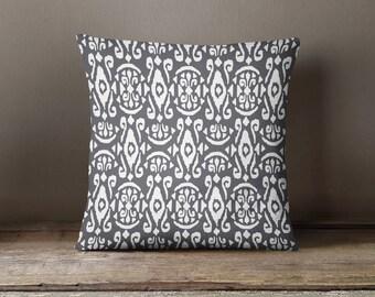 Gray Ikat Print Pillow