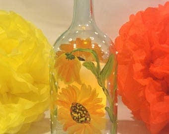 Wine Bottle Hurricane Lamp, Hand Painted, Sunflowers, Candle Holder, Shabby Chic, Home Decor, Gift