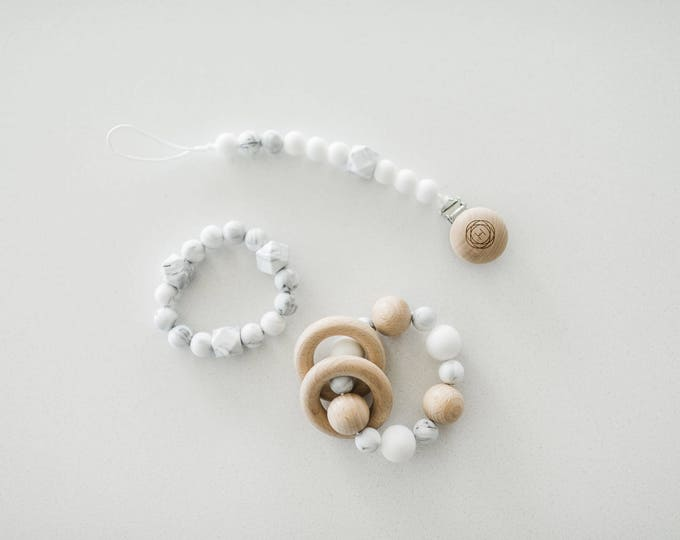 Baby Shower Gift Set! Natural Wood Teething Rattle, Freezer Teether & Beaded Pacifier Clip