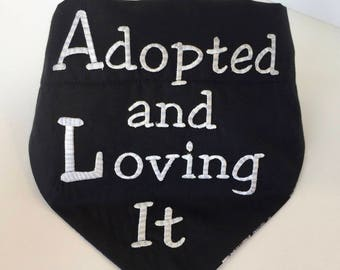 Bandanas for large dogs, pet name bandana embroidered, reversible dog bandana collar, rescue dog bandana, rescue dog stuff