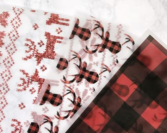 Snuggle Season Vellum | antlers, moose, buffalo plaid, holidays