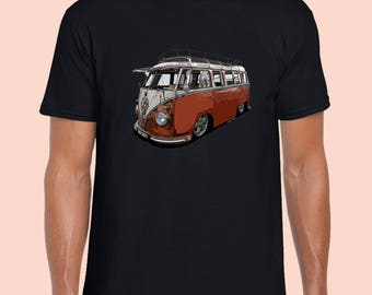 Kombi VW Volkswagen.  Vintage T-Shirt. Black 100% Cotton Tshirt