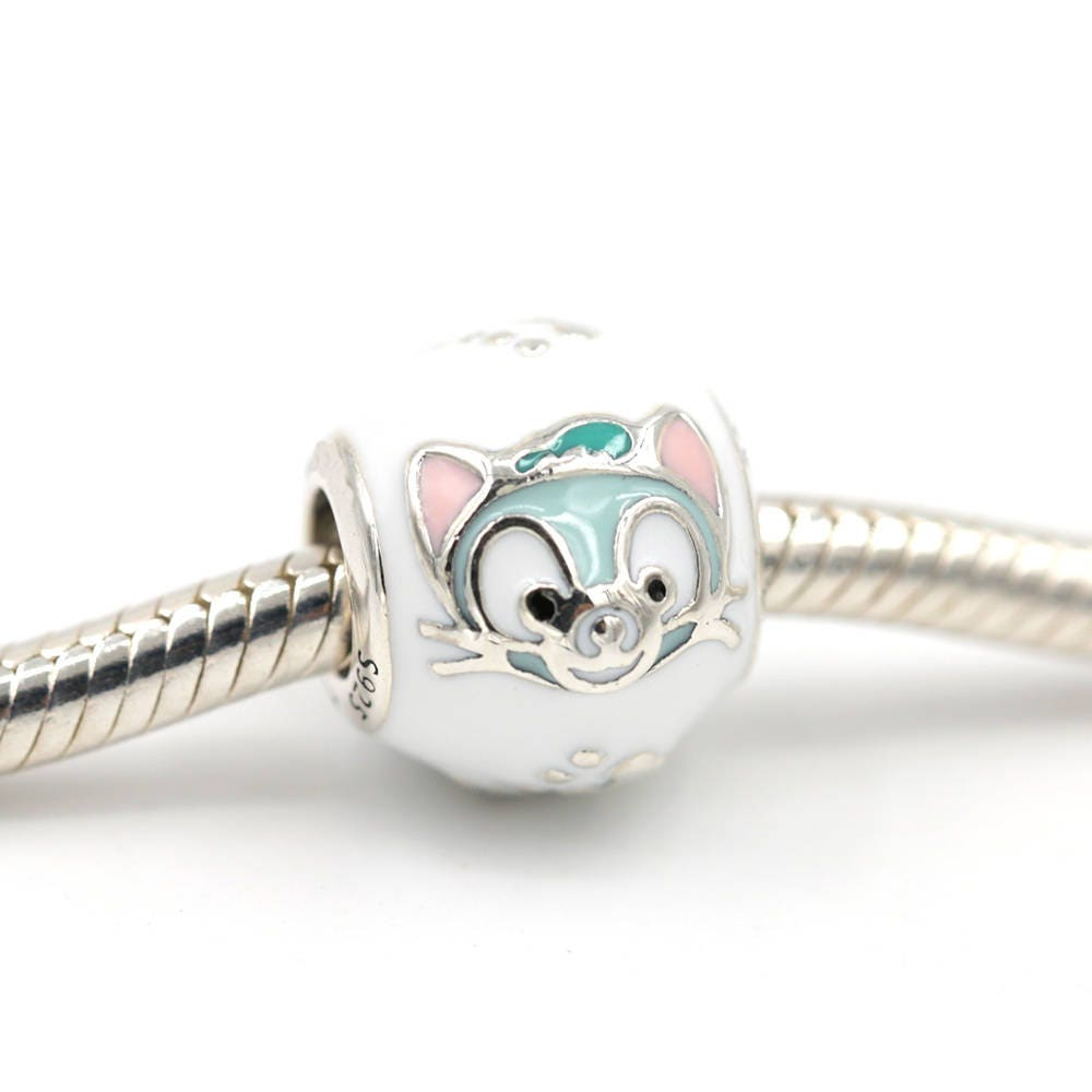 Disney Gelatoni Cat Charm 925 Sterling Silver With Enamel Fits To All
