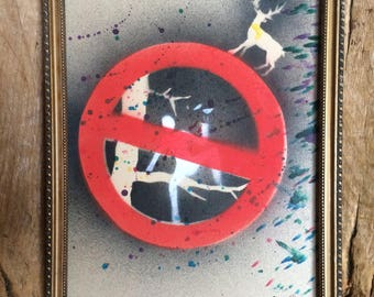 The end of Freedom. Road signpost art. Stencil and mixed media, in old frame.