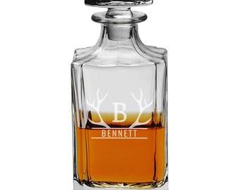 Groomsman Whiskey Decanter, Monogrammed Gift, Etched Decanter, Groomsmen Gifts, Best Man, Wedding Gift Ideas, Custom Decanter, Deer Antlers