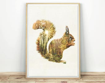 Squirrel Wall Art - Forest Animal Print, Squirrel Silhouette, Animal Nursery Art, Squirrel Poster, Printable Wall Art, Squirrel Wall Decor