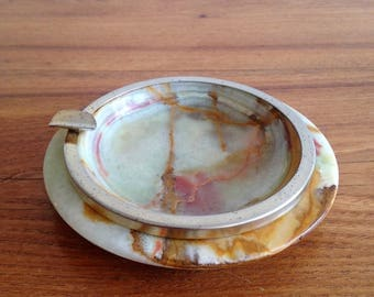 Onyx ashtray and brass - vintage