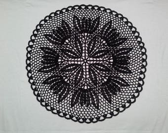Crochet doily - Round doilies - Medium doily - Black doily - Home decor - Crochet doilies