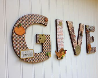 """GIVE Thanksgiving 8"""" Chipboard letters"""