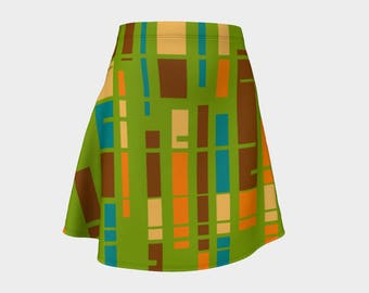 Retro, Skirt Green,Gift, For Her, Wife Gift, Geometric, Womens Skirt, Gift, Turquoise, A-Line Skirt, Womens Gift, Unique, Gift for Women