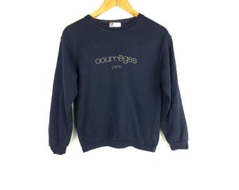 COURREGES PARIS Long Sleeve Ladies Sweatshirt Saiz 150 With Big Spell Out Embroidery Logo