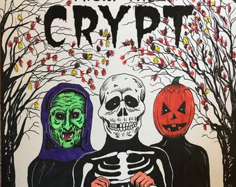 Original Halloween Tales from the Crypt mashup drawing
