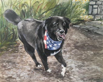 Custom Dog Painting-Dog Portrait-Watercolor Pet Painting - Birthday Gift