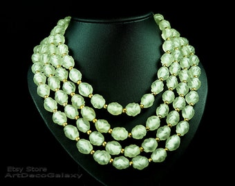 Vintage Frosted Glass Necklace