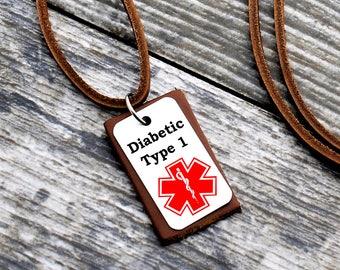 Medical Alert Necklace, Medical Alert Jewelry, Medical ID Necklace, Diabetic Leather Necklace, Diabetic Jewelry, Allergy Necklace, ID Tag