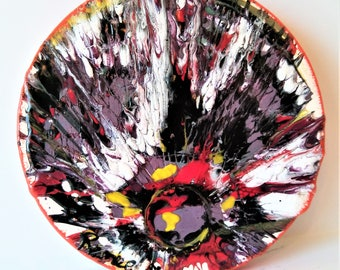 """Wild Lilly - 4"""" Round Origional Abstract Ceramic Painting"""