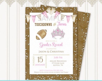 Touchdowns or Tiaras Gender Reveal Invitation   Watercolor Brown Football Pink Tiara   Leather Diamonds   Editable PDF Instant Download