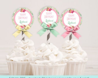 Island Tropical Cupcake Toppers   Party Tags   Editable PDF Digital Download