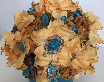 Brooch bouquet jewelry bouquet satin flowers silk flowers silk flower arrangement wedding flowers fake flowers flower centerpiece silk decor