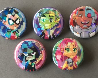 Teen Titans Go! Holographic Button Set