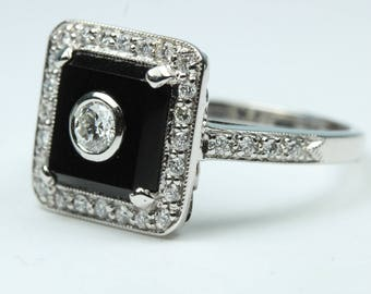 Art Deco Style 9ct White Gold Black Onyx and Diamond Ring Size: P-7 1/2