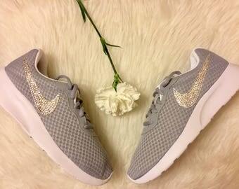 Bling Nike Tanjun With Beautiful Swarovski Crystals -grey sneakers- Women's bling nike- crystal sneakers