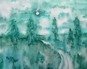 Original Art Painting,Watercolor Landscape,Woodland Painting,Forest,Green,Forest painting,Fog,Watercolor trees,Misty landscape,Home Decor