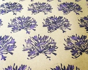 Purple agapanthus handmade gift wrap