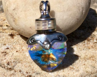 Sparkling Clear Swarovski Crystal and Mother of Pearl Sterling Silver Pendant