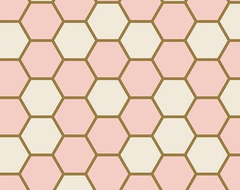 Art Gallery Blush Hex Rose 100 % cotton Quilting fabric BSH-78402.  By the yard, cut to order