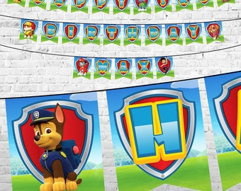 Paw Patrol Birthday Banner, Paw Patrol Printable Banner, Paw Patrol Party Banner, Paw Patrol Decoration, Paw Patrol Birthday Party Supplies