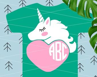 Unicorn SVG Girl Valentine svg Unicorn monogram svg Unicorn horn svg Unicorn Birthday cut file for Cricut Silhouette Unicorn cut files