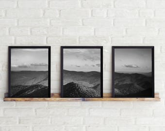 Black and White Photo, Black and White Wall Art, Printable, Printable Art, Instant Digital Download, Photo Set, Three Photos, Mountain Photo