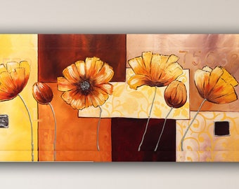 Abstract acrylic painting, flowers on canvas